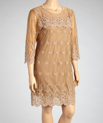 Brown Sheer Flower Dress - Plus