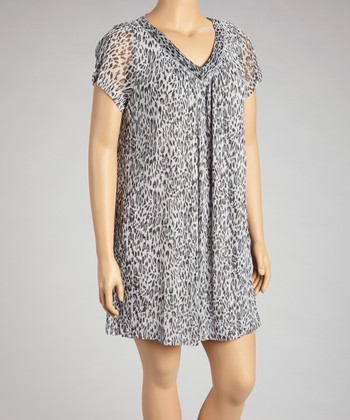 Silver Leopard Shift Dress - Plus