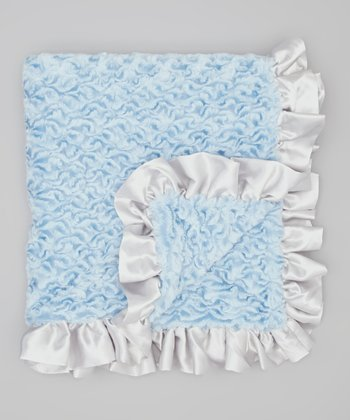 Blue & Silver Ice Cream Ruffle Crib Blanket
