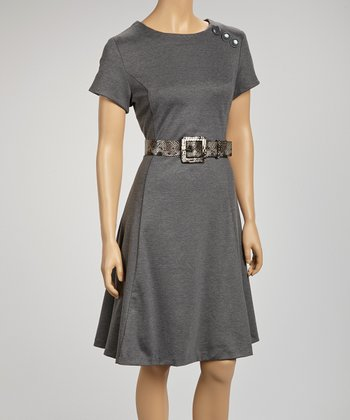 Charcoal Gray Belted Short-Sleeve Dress
