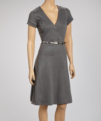 Charcoal Gray Belted Short-Sleeve Surplice Dress