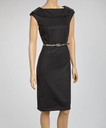 Black Ascot Belted Sleeveless Dress