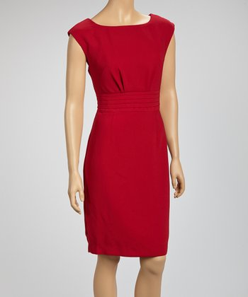 Wine Pleated Cap-Sleeve Dress