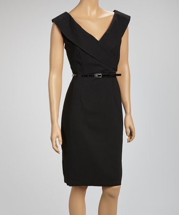 Black Belted Surplice Dress