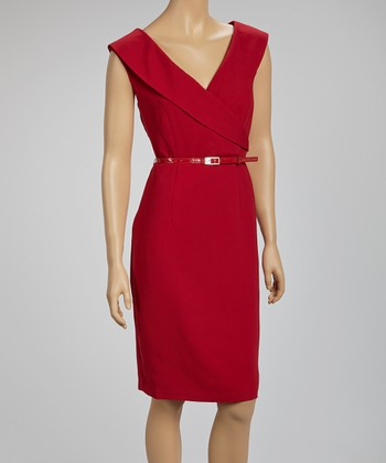 Wine Belted Surplice Dress