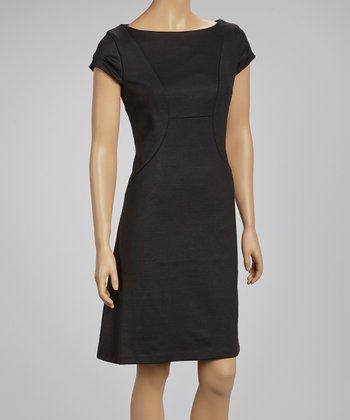 Black Ruched Cap-Sleeve Dress