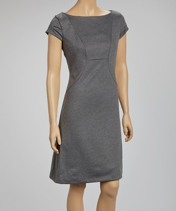 Charcoal Gray Ruched Cap-Sleeve Dress