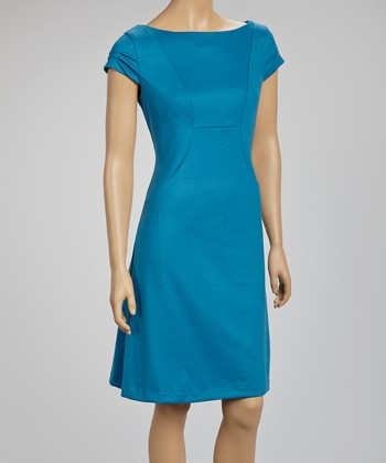Teal Ruched Cap-Sleeve Dress
