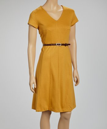 Amber Belted V-Neck Dress