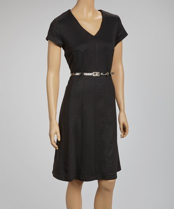 Black Belted V-Neck Dress