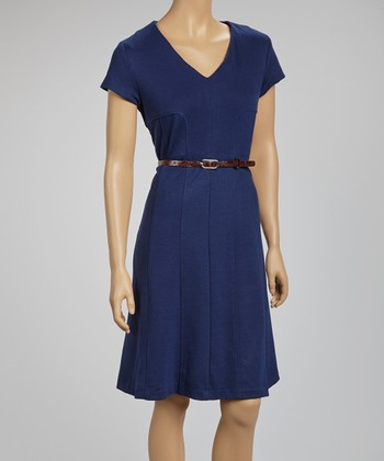 Navy Belted V-Neck Dress