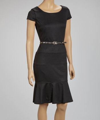 Black Belted Scoop Neck Dress