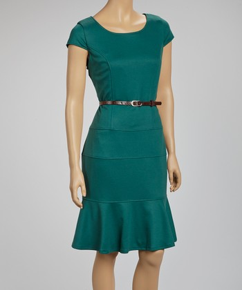 Forest Belted Scoop Neck Dress