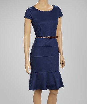 Navy Belted Scoop Neck Dress
