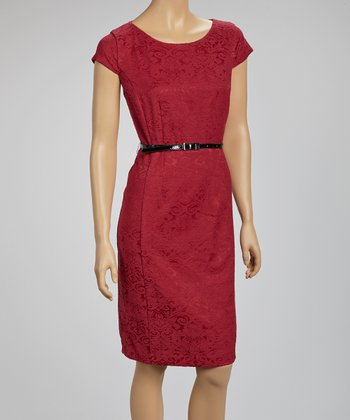 Red Jacquard Belted Cap-Sleeve Dress