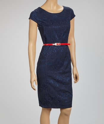 Navy Jacquard Belted Cap-Sleeve Dress