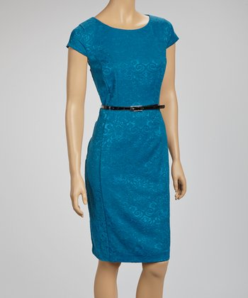 Teal Jacquard Belted Cap-Sleeve Dress