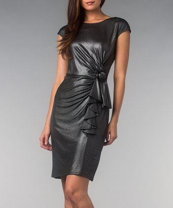 Silver Metallic Ruffle Cap-Sleeve Dress