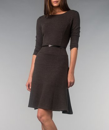 Charcoal Hatchi Belted Three-Quarter Sleeve Dress