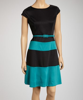Black & Teal Color Block Belted Drop-Waist Dress