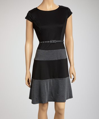 Black & Charcoal Color Block Belted Drop-Waist Dress