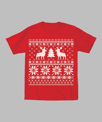 Red Reindeer & Christmas Tree Tee - Toddler & Kids