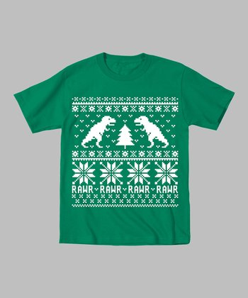 Kelly Green Dinosaur & Christmas Tree Tee - Toddler & Kids