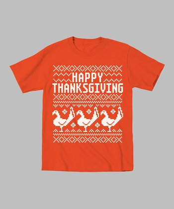 Orange 'Happy Thanksgiving' Tee - Toddler & Kids