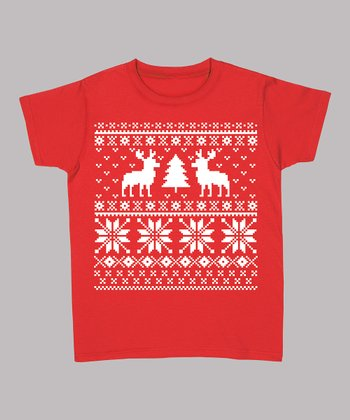 Red Reindeer & Christmas Tree Tee - Women & Plus