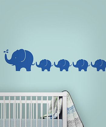Blue Elephant Wall Decal Set