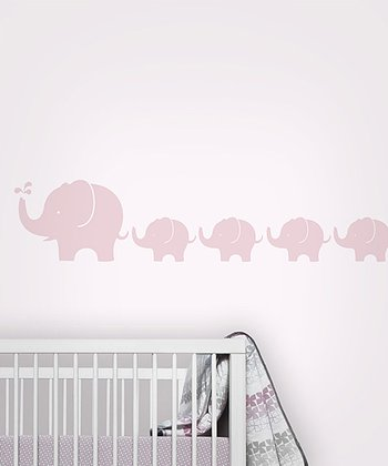 Pink Elephant Wall Decal Set