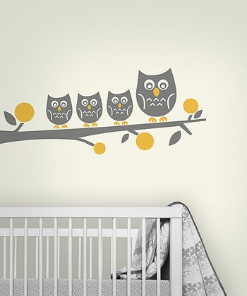Dark Gray Owl Family Wall Decal