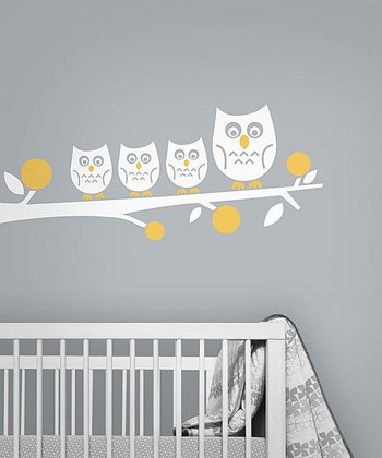 White Owl Family Wall Decal