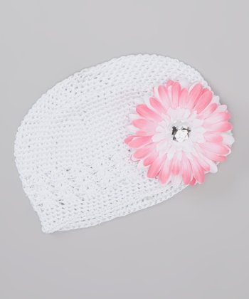 White Crocheted Beanie & Pink Flower Clip