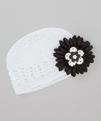 White Crocheted Beanie & Black Daisy Clip