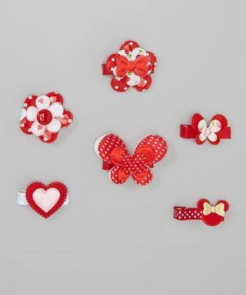 Red Polka Dot Flower Clip Set