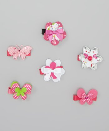 Pink Butterfly & Bow Clip Set