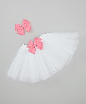 White & Pink Tutu & Bow Clip Set