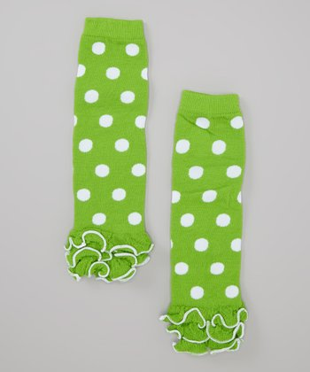 Lime & White Polka Dot Ruffle Leg Warmers - Infant & Toddler
