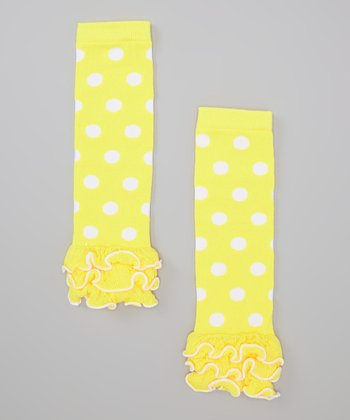 Yellow & White Polka Dot Ruffle Leg Warmers