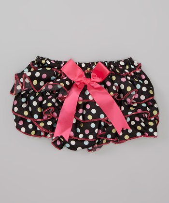 Black & Hot Pink Bow Ruffle Diaper Cover - Infant