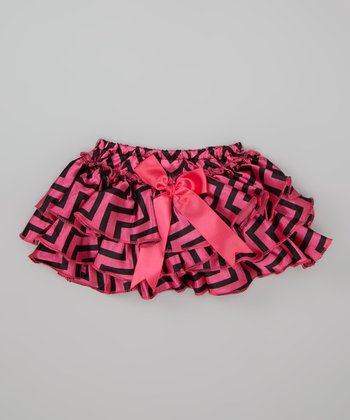 Hot Pink & Black Zigzag Bow Ruffle Diaper Cover - Infant
