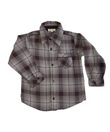 Gray & Black Plaid Robert Button-Up - Boys