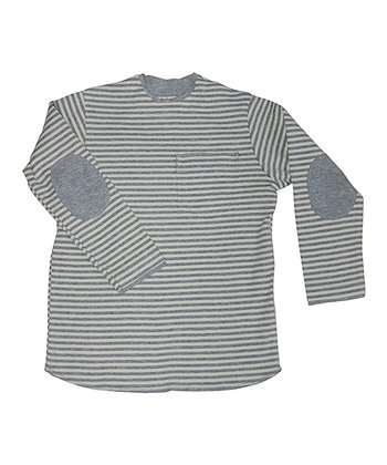 Gray Stripe Elbow Patch Knit Tee - Infant, Toddler, Boys