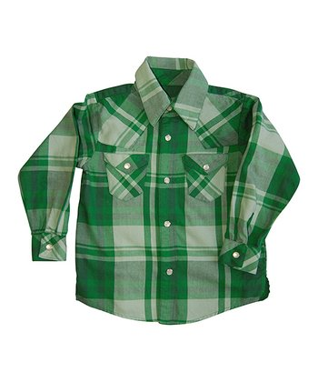Green Plaid Button-Up - Infant & Toddler