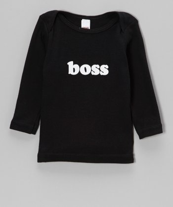 Black 'Boss' Lap Neck Tee - Infant, Toddler & Kids