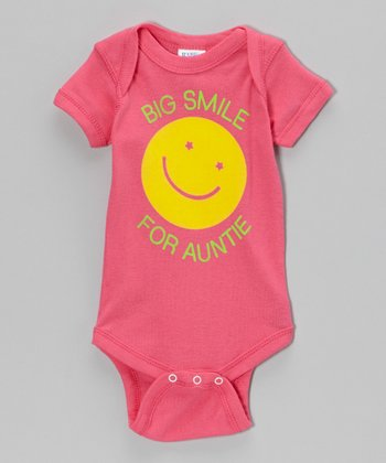 Hot Pink 'Big Smile for Auntie' Bodysuit - Infant