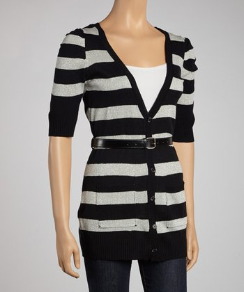 Black & Gray Stripe Belted Short-Sleeve Cardigan