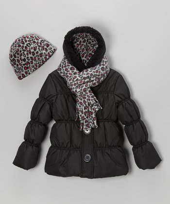 Black Leopard Puffer Coat Set - Toddler & Girls