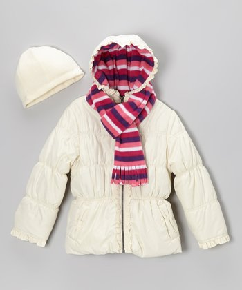 Cream Ruffle Puffer Coat Set - Toddler & Girls